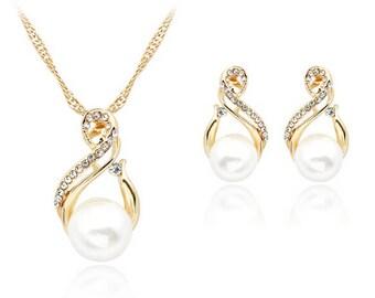 Elegant Women Wedding Bridal Pearl Crystal Rhinestone Necklace Earrings Set Jewelry