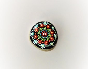 Alonnah - hand-painted rock,for giving and for getting, aqua, orange, green, dots