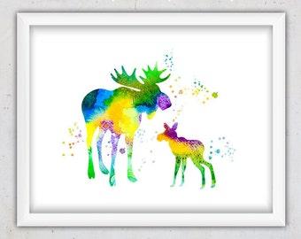 Watercolor, Animal Art, Woodland Animals, Baby Moose Poster, Animal Print, Watercolor Art, Nursery Animal Art Print, Printable Digital Print