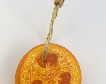 Mango soap on a rope with loofah