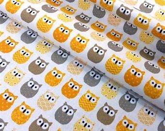 Fabric mini yellow OWL - dimension for 1 quantity 50 cm x 160 cm - cotton