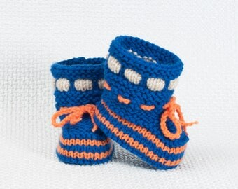 New York Mets Baby Booties - Baseball Baby Boots - Knitted Baby Boots - Baby Gift Idea-Knitted Baby Gift - Hand Made Baby Shoes