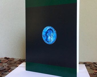 Blue Moon Card – A photo of a mysterious quarter found in Greenwich, Connecticut. Blank greeting card with envelope.