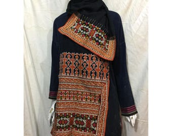 Vintage tribal RedDao embroidery head covering in Tuyen Quang area in the north of Vietnam