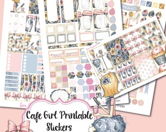 50% Sale Digital Planner Stickers, Printable Stickers, Cafe Girl Stickers, Weekly Stickers, Erin Condren Planner Girl Stickers, Printables
