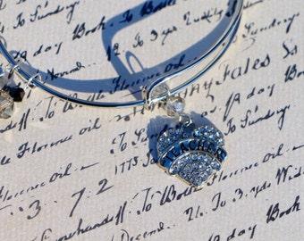 Teacher Charm Bracelet with Rhinestone Teacher Charm and Black and Clear Crystals--Great Teacher Gift