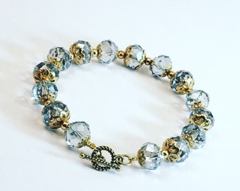 Beautiful Beaded Toggle Clasp Blue and Gold Bracelet