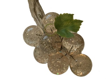 Clear Silver Flake Lucite Grapes; Lucite Fruit