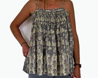 Top Printed Bustier in Cotton, with Straps