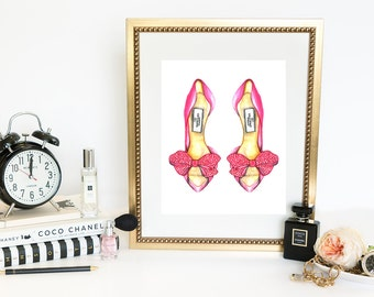 Watercolor Fashion Print, Digital Fashion Illustration, watercolor shoes