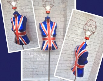 Sale, Mannequin Lamp, Union Jack Mannequin, Red White and Blue, Patriotic Lamp, London Look Lamp, Floor Lamp, Union Jack Design,