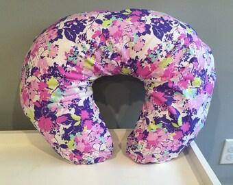 Boppy Cover, purple floral boppy cover