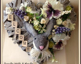 Handmade Shabby Chic Style Heart Wall Hanging- Welcome