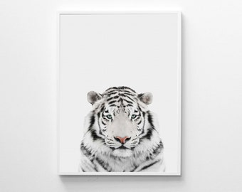 White Tiger Print, Nursery Animal Print, Animal Wall Art, Tiger Print, Nursery Printable Art