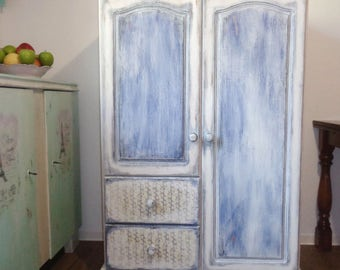 Shabby Chic wardrobe wood decoupage Friesen blue white