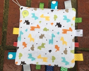 Tag Blanket with Pacifier or Teether Attachment, Lovey, Pacifier Leash