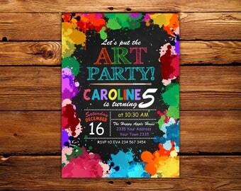 Art Party Invitation. Art Birthday Invitation. Art Birthday Party Invitation. Art Party Invite. Chalkboard.Any age.