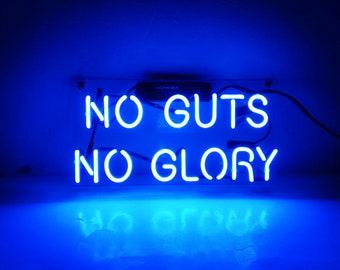 "New 'No Guts No Glory' LED Art Neon Sculpture Neon Light Sign 14""x6"""