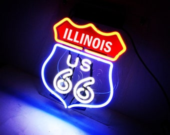 Handmade Route 66 Illinois State IL Beer Bar Pub Neon Light Sign
