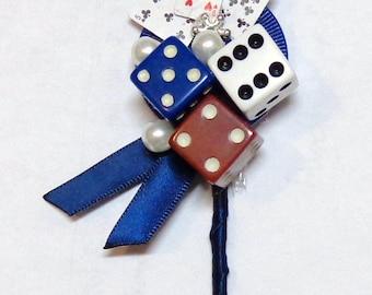Casino Theme Boutonniere-Dice Poker Mini Deck of Cards Boutonniere-Wedding-Party Boutonniere-by Floramiagarden