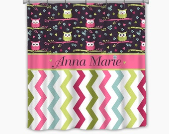 Owls and Multicolor Chevron-Custom  Shower curtain with your Personalization