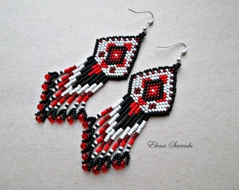 White,red,black color.Beaded earrings, seed bead earrings, modern earrings, boho earrings, fringe earrings, beadwork jewelry