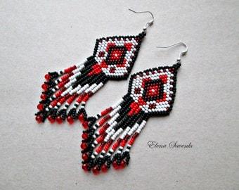 White,red,black color.Beaded earrings, seed bead earrings, modern earrings, boho earrings, fringe earrings, beadwork jewelry