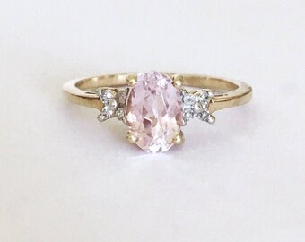 9ct Gold Pink Stone & Diamond Ring