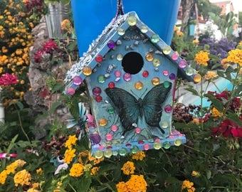 Colorful Birdhouse.Unique Butterfly Birdhouse.Flower Birdhous. Rhinestone BirdHouse. Garden Decor. Art Decor.outdoor decor.Gift Iseas