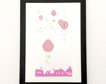 Rabbit, turquoise or pink hot air balloon illustration, poster, art