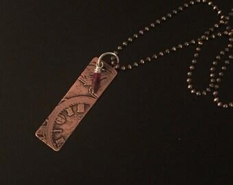 Etched Copper Pendant w/ Garnet Dangle