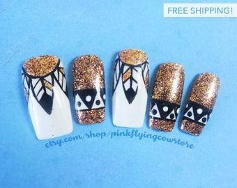 Tribal press on nails