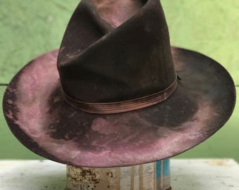 PURPLE SAUCE  Spaghetti western series . Vintage distressed cowboy hat  7 1/4