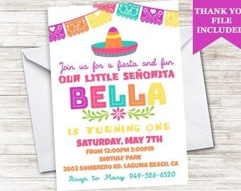 Fiesta First Birthday Invitation Senorita 1st ANY AGE Invite 5x7 Digital Personalized Banner