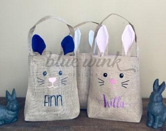 Easter bunny basket bag-personalized-burlap bag-Children's Easter