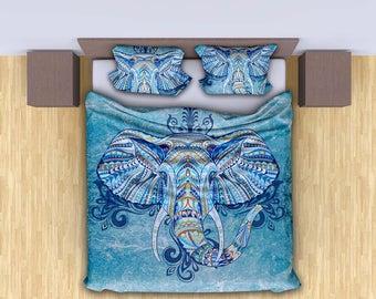 King/Queen/Full/Twin Size Duvet cover set, Beautiful and Unique bohemian elephant duvet cover, Hippie elephant bedding set,Duvet with pillow