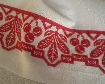 The towel made of cotton with embroidered red on white-2 ""