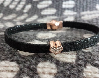 Heart Jewelry, Black Leather Bracelet, Crystal Heart Charm