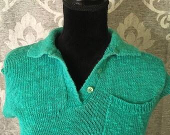 80's Vintage Top-Vintage Sweater Top- Womens Sweater Top-Size M-Vintage Green Sweater-Womens Vintage Top-Vintage Clothing- Womens Clothing