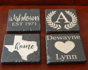 Set of 4 Customizable Stone Coasters