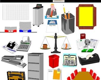 Business Clip Art, Office Clip Art, Office Supplies Clip Art, Tape, Stapler, PNG Images, INSTANT DOWNLOAD