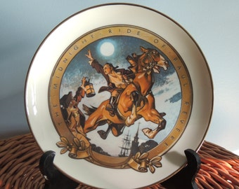 "Vintage ""The Midnight Ride of Paul Revere"" Plate, Vintage Decorative Plate,by Joseph C. Leyendecker 1976 Limited Bicentennial Edition"
