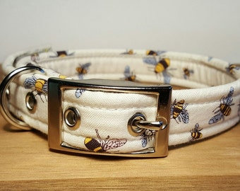 Dog Collar in Cream - Off White - Bee Dog Accessories - Metal or Plastic Buckle - Adjustable