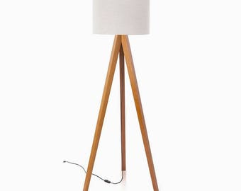 woodymood tripod floor lampcream walnut wood