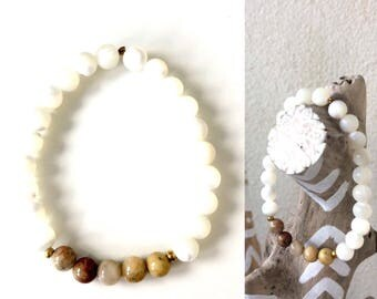 Bracelet elastic crazy agate and Pearl