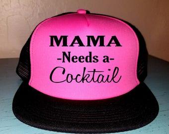 Mama Needs A Cocktail Trucker Hat Snapback Hat Beach Hat Hat River Rat River Hat Lake Hat Havasu Life Summer Hat Adjustable Trucker Hat