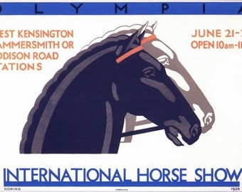 Vintage 1928 Olympia International Horse Show Promotional Poster A3/A2/A1 Print