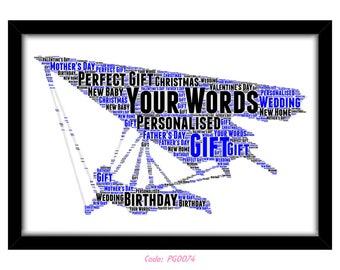 PERSONALISED Hang Gliding Word Art Print Gift Idea Birthday Present Wall Art Home Decor Print Hand Glider Extreme Sports Fixed Wing Wind