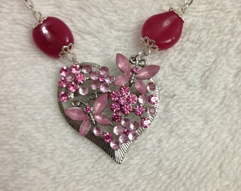 Butterfly and flower pink crystal brooch/pendant
