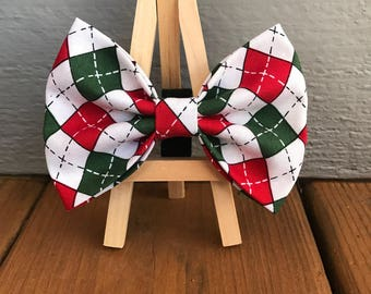 Red and Green argyle dog bow tie